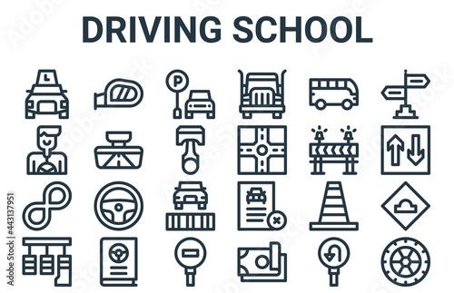 Fototapeta linear pack of driving school line icons