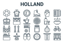 Linear Pack Of Holland Line Icons. Simple Web Vector Icons Set Such As Cheese Market, Boat, Jenever, French Fries, Euro. Vector Illustration.