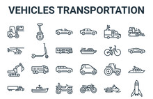 Linear Pack Of Vehicles Transportation Line Icons. Simple Web Vector Icons Set Such As Rocket, Truck, Bike, Reporter, Cabriolet. Vector Illustration.