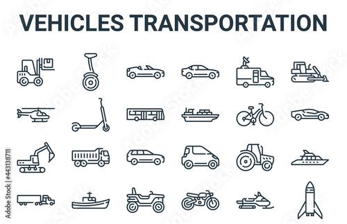 Obraz na plátně linear pack of vehicles transportation line icons