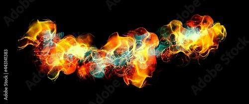 Fotografie, Obraz coloured flames on the black background, creative alcohol ink, hand painted art,