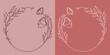 Szablony ramek z wzorem roślinnym w prostym nowoczesnym stylu z listkami i kwiatami - romantyczny, kobiecy wzór na zaproszenia ślubne, życzenia, kartki, tło dla social media stories.