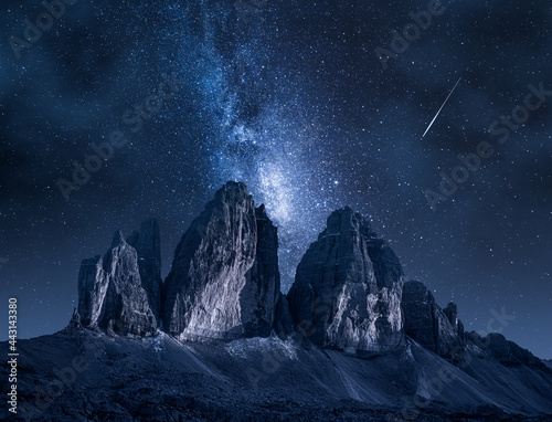 Tela Milky way over Dreizinnen hut in Tre Cime, Dolomites, Italy