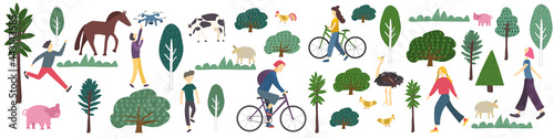 Fotografering Rural banner with people leisure activity trees, grass and farm animal