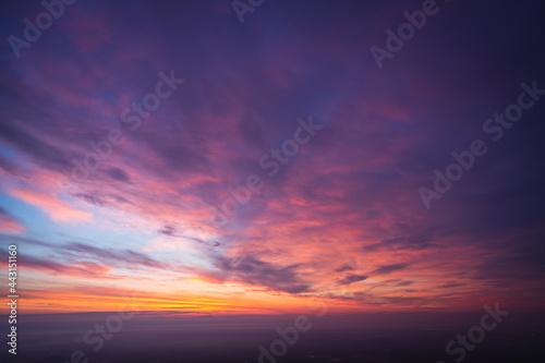 紫色に色づく空, 夜明け前, 夜明け, 暁, 薄明 Fotobehang