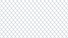 Wire Mesh Isolated On White Background. Chain Link Fence. Seamless. Steel. 3d Illustration.