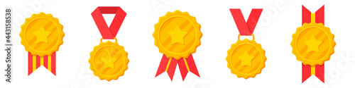 Fotografering Set of winner golden medals with red ribbon and star
