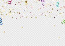 Gold Balloons, Festive Confetti And Streamers On Background. Vector Illustration