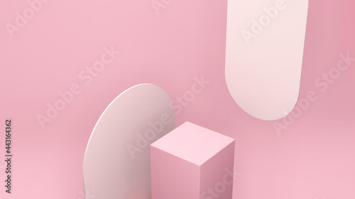 Canvastavla 3d render image bird eye perspective view pink podium with light pink background for product display advertisement