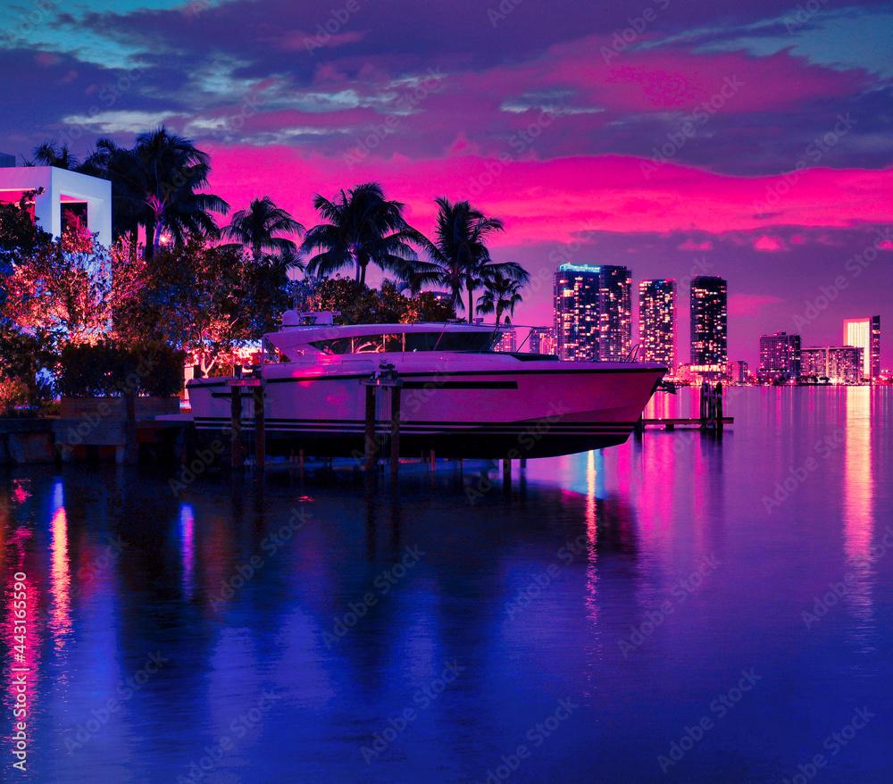 miami skyline night sea reflections boat yacht house palms beautiful sky view cute panorama wallpaper tropical florida usa