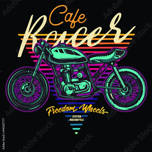 Photo cafe racer wo Design vector illustration for use in canvas poster design