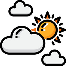 Partly Cloudy Color Outline Icon
