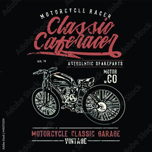classic cafe racer Design vector illustration for use in canvas poster design Fotobehang