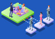 Isometric Vector Illustration Representing Activity of a Financial Planning Team for a Family and Showing How They are Helping