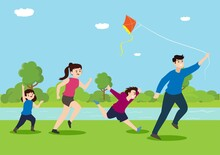 A Happy Family With Two Children Having Fun While Flying Kites On A Family Holiday. Young Family Flying A Kite Vector Cartoon Illustration