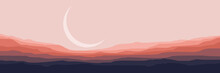 Crescent Moon In Mountain Flat Design Vector Illustration For Wallpaper, Banner, Background, Template, Design Template, And Adventure Design Template