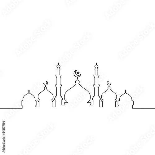 Fototapeta Mosque line art vector minimalist design