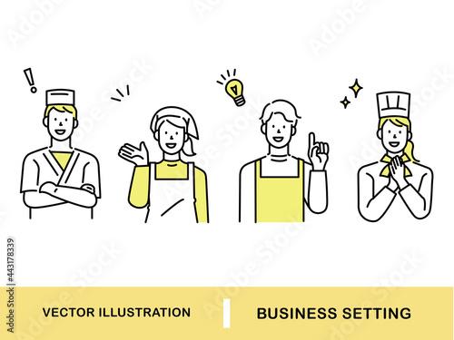 ポイント、注目、発表を表す男女のイラスト(街の人々、シェフ、パティシエ、職業、コック、アイデア、店員、相談、セールス、発見、提案) Townspeople, chefs, pastry chefs, professions, cooks, ideas, clerks Fotobehang