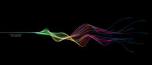 Vector Abstract Wave Lines Flowing Dynamic In Colorful Spectrum Colors Isolated On Black Background For Concept Of Modern, Technology, Digital, Communication, Science, Music.