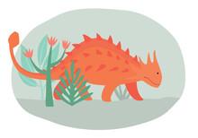 Ginger Cartoon Cute Dinosaur Walks Through The Primeval Forest. Vector Graphics