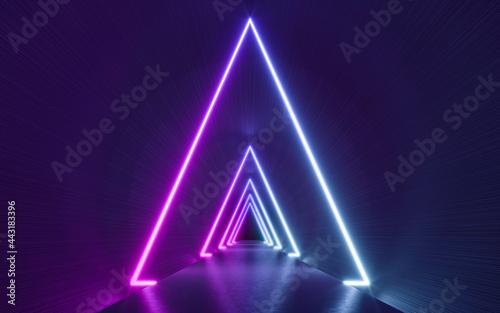 Obraz na plátně Futuristic Sci Fi Dark Empty Background With Blue And Purple Neon Lights