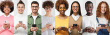 Group Portrait Of Happy Smiling Young Men And Women Holding Smartphones. People Phone Collage.
