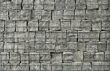 Gabion Made Of Stones And Metal Mesh, Texture