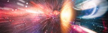 Panorama View Warp Space , Abstract Of Warp Or Hyperspace Motion In Blue Star Trail. Elements Of This Image Furnished By NASA