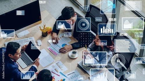 Obraz na plátně Creative visual of business data analyzing technology