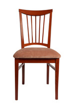 Brown Wooden Chair With Plain Brown Fabric Upholstery. Front View. Isolated On White Background.
