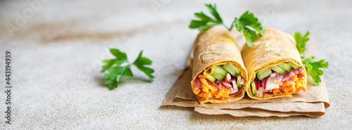 Canvas Print vegetable shawarma doner kebab pita bread filling vegetables dish on the table h