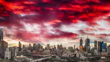 Aerial Panoramic View Of Melbourne Skyline At Dusk, Australia