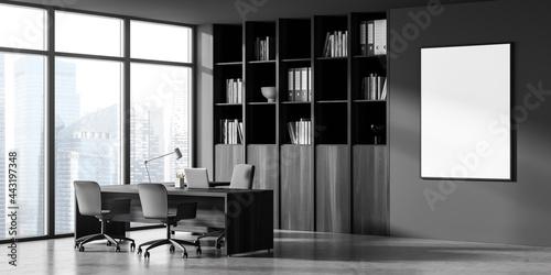 Obraz na plátne Poster and corner of panoramic dark grey office with cabinet, desk