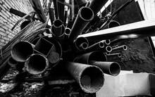 Metal Debris. Scrap Metal. Pile Of Construction Waste