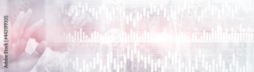 Foto Volume candlestick graph Stock market exchange analysis