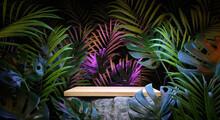 Wooden Tabletop On A Boulder Placed Among An Exotic Jungle. Podium Platform For Product Presentation. Summertime Background. 3D Render. 3d Illustration.