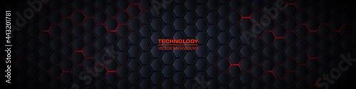 Fotografiet Dark gray and red horizontal hexagonal 3d technology abstract vector background