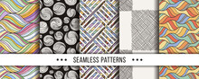 Set Of Seamless Boho Patterns With Hand-drawn Elements Texture, Abstraction Illustration Of Black Silhouette On White Background