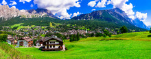 Incredible Nature Of Italian Alps .Wonderful Valley In Cortina D'Ampezzo - Famous Ski Resort In Northern Italy, Belluno Province