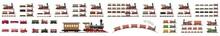 Classic Locomotive And Wagons Set, Set Of Trains, Set Icons Railway Train With Locomotive And Wagons Vector Illustration, Set Icons Railway Train With Locomotive And Wagons Vector