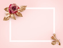 Greeting Card Template. Top View Flat Lay With Copy Space. Gold Rose With Golden Leaves On Pink Background. Gold Rose Flower.