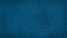Blue Herringbone Pattern Fabric, Texture Background. Blue And Cyan Tweed Pattern, Weaving, Textile Material. Close Up Canvas Background.