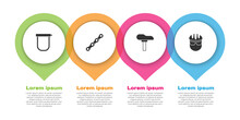 Set Bicycle Lock, Chain, Seat And Helmet. Business Infographic Template. Vector
