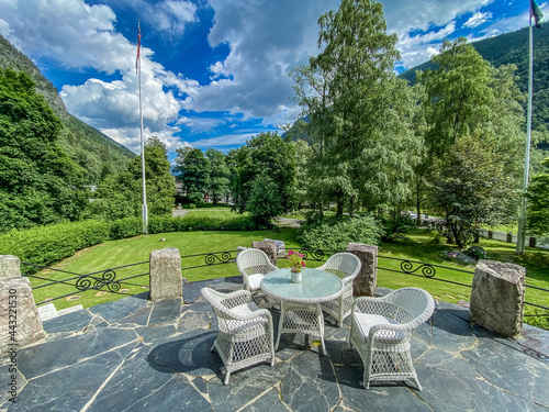 Fotografering table and chairs in the garden in Valle Norway