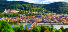 Heidelberg One Of The Most Beautiful Cities In Germany Over Neckar River. Townscape With Karl Theodor Bridge And Castle