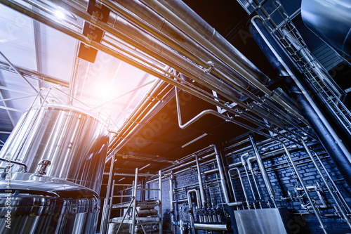 Canvas Print Pipes and fittings at a craft modern brewery