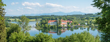 Pictorial Bavarian Landscape With View To Lake Seeon And Cloister