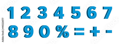 Fotografía Blue 3D Numbers with Signs Percent, Plus, Minus, Equality, Isolated on White Background