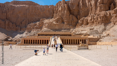 Tourists in front of the Deir al-Bahari Complex and the temple of Hatshepsut, Luxor, Egypt, April 11, 2021