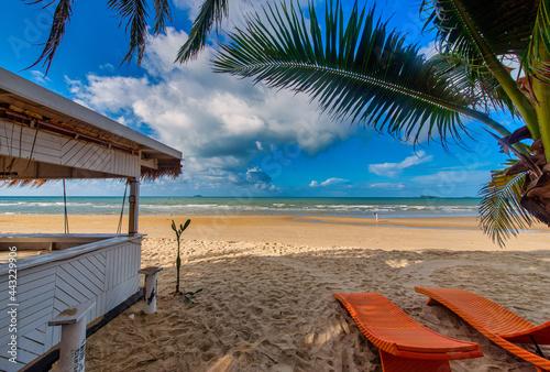 Obraz na plátně Sea view from beach bar with chair beach at summer day